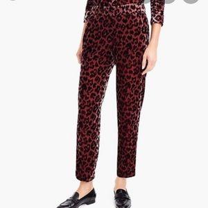 J crew rose leopard velvet pants